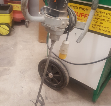 Protool MXP 1200E Plaster Paddle Mixer for hire at Jradcliffe Plant Hire.